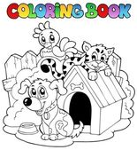 Coloring book with domestic animals — Stock Vector