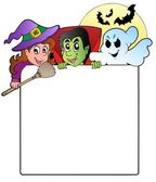 Frame with Halloween characters 1 — Stock Vector