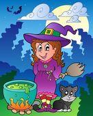 Halloween character scene 1 — Stock Vector