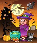 Scene with Halloween theme 3 — Stock Vector