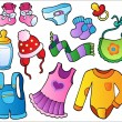 Baby clothes collection - Stock Vector