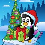 Christmas scene with penguin — Stock Vector