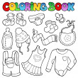 Coloring book baby clothes — Stock Vector