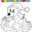 Coloring book Christmas bear — Stock Vector