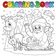 Coloring book Santa Claus theme 4 — Stock Vector