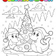 Royalty-Free Stock Vector Image: Coloring book two seals with tree