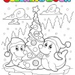 Coloring book two seals with tree — Stock Vector