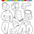 Coloring book winter apparel 1 — Stock Vector