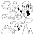 Stock Vector: Coloring book wintertime animals 2
