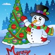 Stock Vector: Merry Christmas card with snowman 1