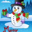 Stock Vector: Merry Christmas card with snowman 2