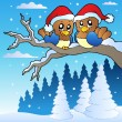 Two cute birds with Christmas hats - Stok Vektör