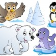 Stock Vector: Various happy winter animals