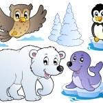verschillende gelukkig winter dieren — Stockvector