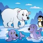 様々 な動物 1 で冬景色 — ストックベクタ