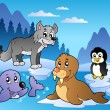 Winter scene with various animals 2 — Vector de stock #7214074