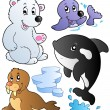 Stock Vector: Wintertime animals collection 1