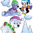 图库矢量图片: Wintertime animals collection 2