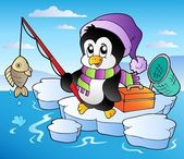 Cartoon fishing penguin — Vector de stock