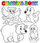 Coloring book happy winter animals — Stock Vector