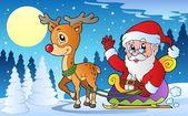 Winter scene with Christmas theme 1 — Stock Vector