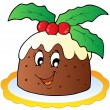 Cartoon Christmas pudding - Stock Vector