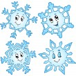 ストックベクタ: Cartoon snowflakes collection 1