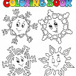 Stock Vector: Coloring book cartoon snowflakes 1