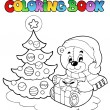 coloring book christmas teddy bear — Stock Vector