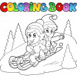 Royalty-Free Stock Vector Image: Coloring book two kids on sledge