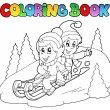 Coloring book two kids on sledge — Stock Vector