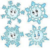Cartoon snowflakes collection 1 — Stock Vector