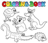 Coloring book Australian animals 1 — Stock Vector