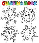 Coloring book cartoon snowflakes 1 — Stock Vector