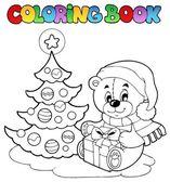 Coloring book Christmas teddy bear — Stock Vector