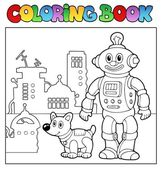 Coloring book robot theme 1 — Stock Vector