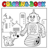 Coloring book robot theme 2 — Stock Vector