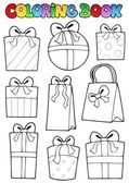 Coloring book various gifts — Stock Vector
