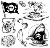 Drawings with pirate theme 1 — Stock Vector
