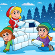 Winter scene with kids 1 - Imagen vectorial