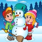 Winter scene with kids 2 — Stock Vector #7459596