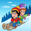 Winter scene with kids on sledge - Imagen vectorial