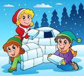 Winter scene with kids 1 — Stock Vector