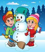 Winter scene with kids 2 — Stock Vector