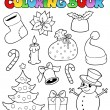 Coloring book Christmas images 1 — Stock Vector