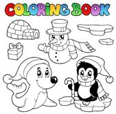 Coloring book wintertime animals 3 — Stock Vector