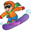 Cartoon boy on snowboard — Stock Vector #7788504
