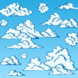 Clouds drawings on blue sky 1 - Stock Vector