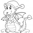 Coloring book cute winter dragon — Stock Vector