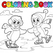 Stock Vector: Coloring book skating penguins